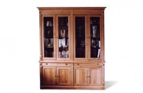 Bibliothèque portes vitrées en chêne ceruse
