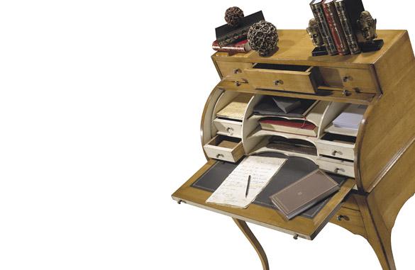 Bureau pied tourne dessus cuir tiroirs merisier occasion la
