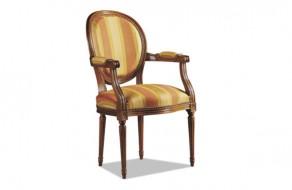 Fauteuil cabriolet Louis XVI médaillon tissu