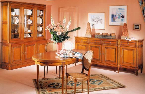 Salle a manger louis xvi merisier meubles hummel for Living meuble salle manger