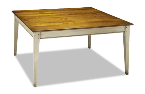 Table carr e bicolore en merisier meubles hummel for Table sejour carree avec rallonge