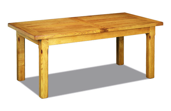 Table rectangulaire rustique en ch ne avec allonges for Table rectangulaire avec rallonge integree