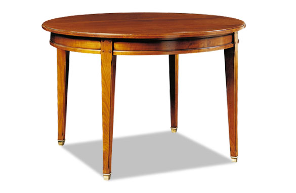 Table ronde directoire merisier avec allonge meubles hummel for Table ronde allonges