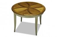 Table ronde merisier plateau frise noyer