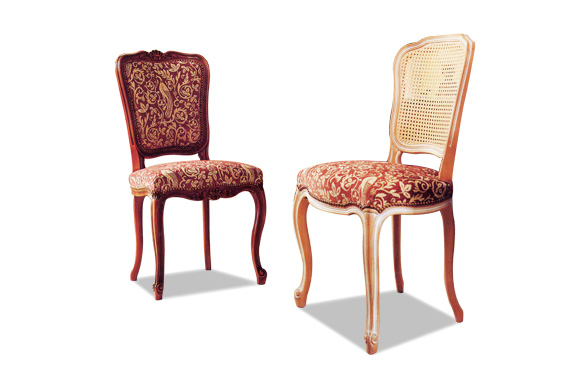 Chaise Louis XV tissu et cannée