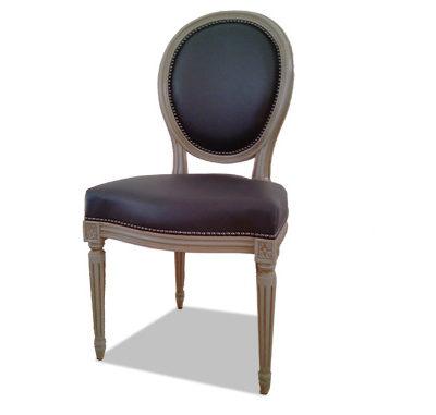 Chaise Louis XVI médaillon cuir