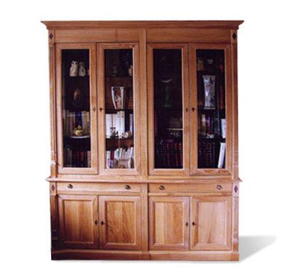 Bibliothèque portes vitrées en chêne céruse