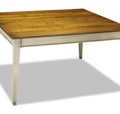 Table carrée bicolore en merisier