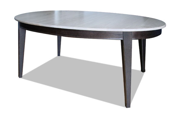 Table ovale en chêne massif bicolore