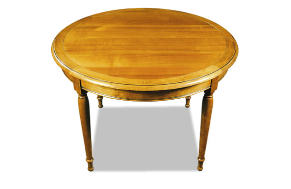 Table ronde avec emboiture en merisier